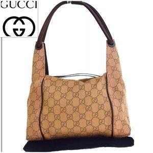 👜 GUCCI Shoulder Bag Logo Beige Canvas Leather